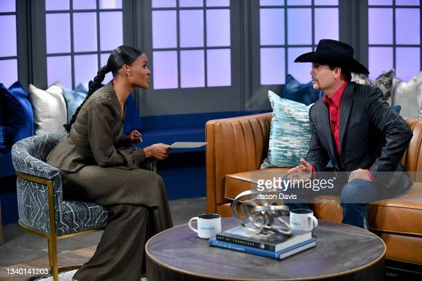 """Candace Owens and John Rich are seen on set of """"Candace"""" on September 13, 2021 in Nashville, Tennessee. The show will air on Tuesday, September 14th."""