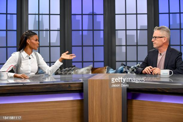"""Candace Owens and Michael Loftus are seen on set of """"Candace"""" on September 20, 2021 in Nashville, Tennessee. The show will air on Tuesday, September..."""