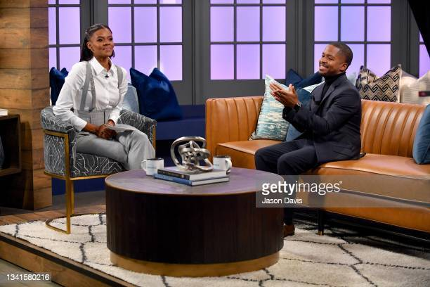 """Candace Owens and Terrence K. Williams are seen on set of """"Candace"""" on September 20, 2021 in Nashville, Tennessee. The show will air on Tuesday,..."""