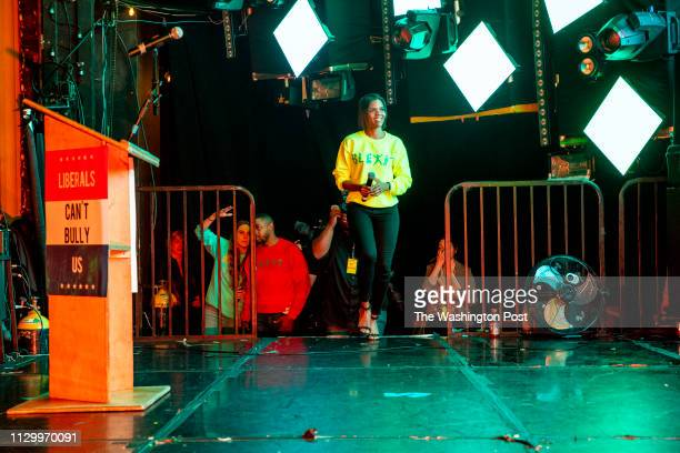 Candace Owens enters the stage to speak to supporters at the first Blexit rally in downtown Los Angeles Blexit is an idea created by Owens as an...