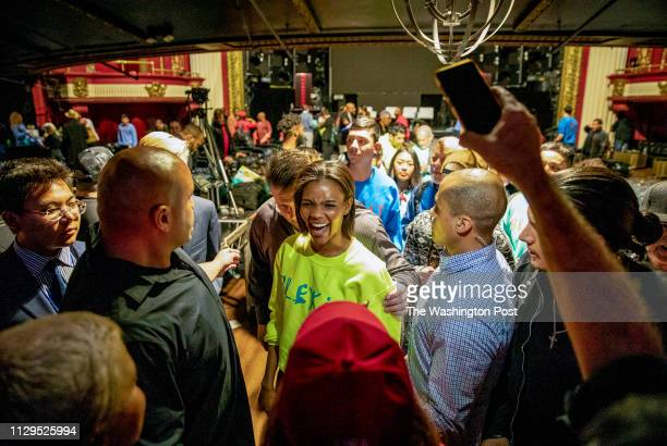 Candace Owens greets supporters at the Globe Theater after the first Blexit rally in downtown Los Angeles Blexit is an idea created by Owens as an...