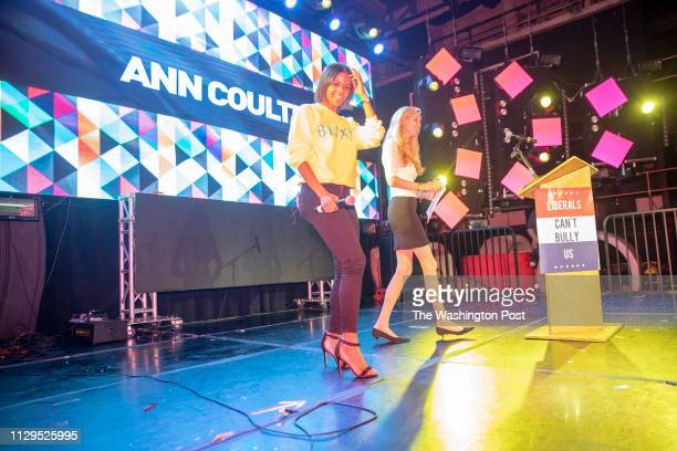 Candace Owens introduced conservative commentator Ann Coulter at the Globe Theater during the first Blexit rally in downtown Los Angeles Blexit is an...