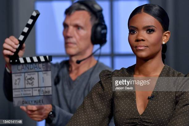 """Candace Owens is seen on set of """"Candace"""" on September 13, 2021 in Nashville, Tennessee. The show will air on Tuesday, September 14th."""