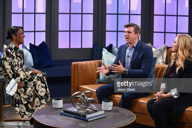 """Candace Owens, James O'Keefe and Leigh-Allyn Baker are seen on set of """"Candace"""" on September 07, 2021 in Nashville, Tennessee. This taping marks the..."""