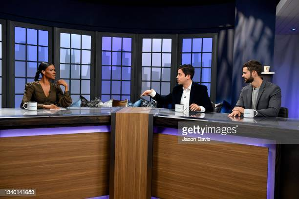 """Candace Owens, Michael Knowles, and Spencer Klavan are seen set of """"Candace"""" on September 13, 2021 in Nashville, Tennessee. The show will air on..."""