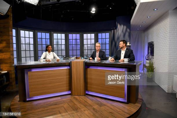 """Candace Owens, Michael Loftus, and Jack Posobiec are seen on set of """"Candace"""" on September 20, 2021 in Nashville, Tennessee. The show will air on..."""