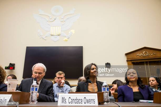 Candace Owens of Turning Point USA arrives before testifying during a House Judiciary Committee hearing discussing hate crimes and the rise of white...