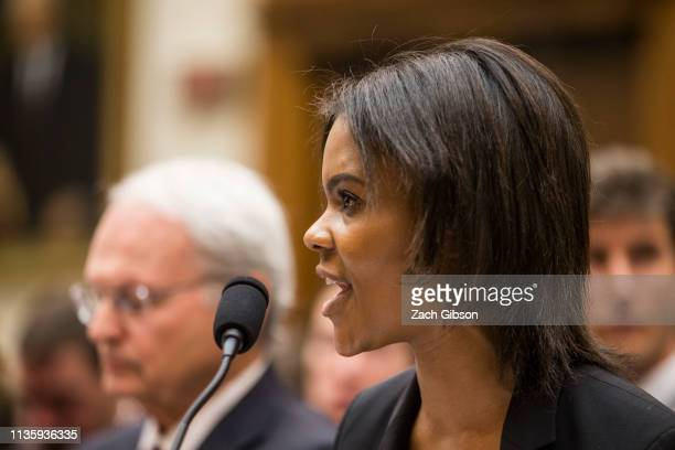 Candace Owens of Turning Point USA testifies during a House Judiciary Committee hearing discussing hate crimes and the rise of white nationalism on...