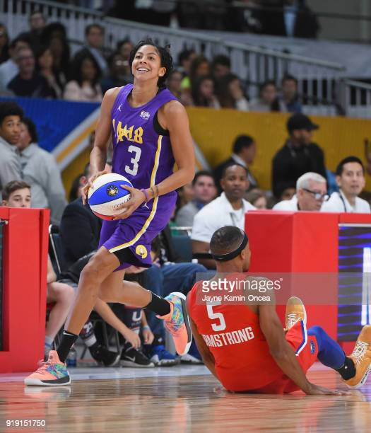Candace Parker and Brandon Armstrong play during the 2018 NBA AllStar Game Celebrity Game at Los Angeles Convention Center on February 16 2018 in Los...