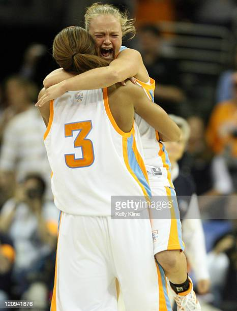 Candace Parker and Cait McMahan embrace during the NCAA Women's Basketball National Championship at Quicken Loans Arena in Cleveland Ohio on April 3...