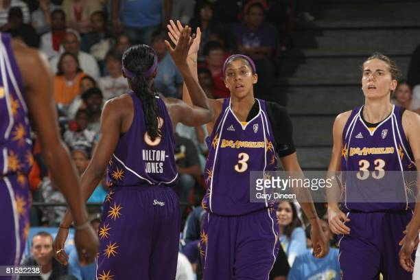 Candace Parker and DeLisha MiltonJones of the Los Angeles Sparks high five during the game against the Chicago Sky on June 3 2008 at the UIC Pavilion...
