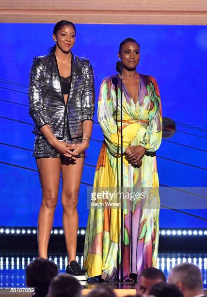 Candace Parker and Issa Rae speak onstage during the 2019 NBA Awards presented by Kia on TNT at Barker Hangar on June 24 2019 in Santa Monica...
