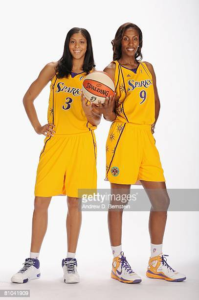 Candace Parker and Lisa Leslie of the Los Angeles Sparks poses for a portrait during WNBA Media Day on May 1 2008 at Loyola Marymount University in...