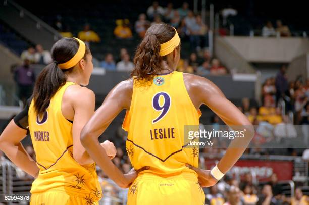Candace Parker and Lisa Leslie of the Los Angeles Sparks stand together during the game against of the Sacramento Monarchs on August 28 2008 at...