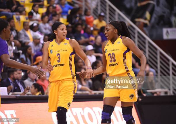 Candace Parker and Nneka Ogwumike of the Los Angeles Sparks shake hands during the game against the Phoenix Mercury in Game Two of the Semifinals...