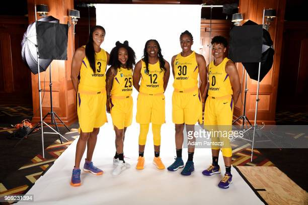 Candace Parker Cappie Pondexter Chelsea Gray Nneka Ogwumike and Alana Beard of the Los Angeles Sparks pose for a portrait at Los Angeles Athletic...