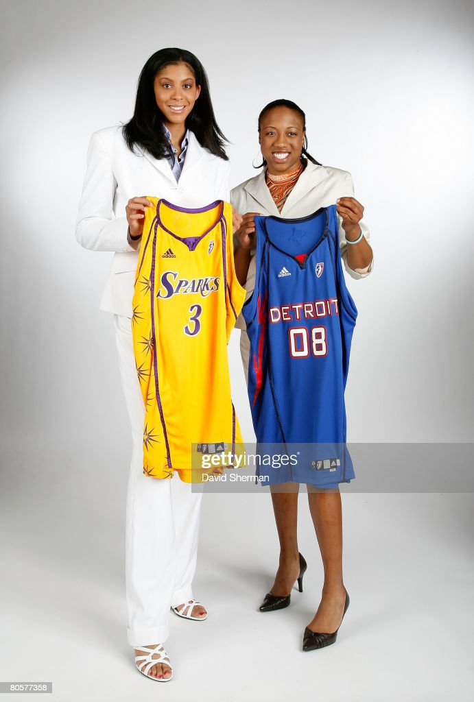 Candace Parker from the University of Tennessee, the number 1 overall pick by the Los Angeles Sparks and Alexis Hornbuckle (R) from Tennessee, the number 4 overall pick by the Detroit Shock, pose for a portrait with her new jersey during the 2008 WNBA Draft on April 9, 2008 at the Innisbrook Resort & Golf Club in Palm Harbor, Florida.