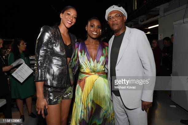 Candace Parker Issa Rae and Samuel L Jackson pose backstage during the 2019 NBA Awards presented by Kia on TNT at Barker Hangar on June 24 2019 in...
