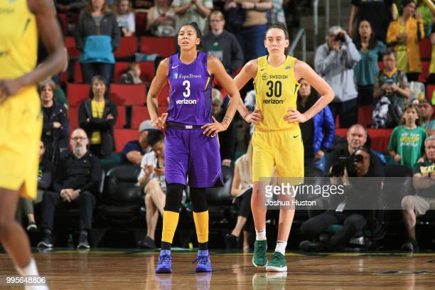 Candace Parker of the Los Angeles Sparks and Breanna Stewart of the Seattle Storm look on during the game on July 10 2018 at Key Arena in Seattle...