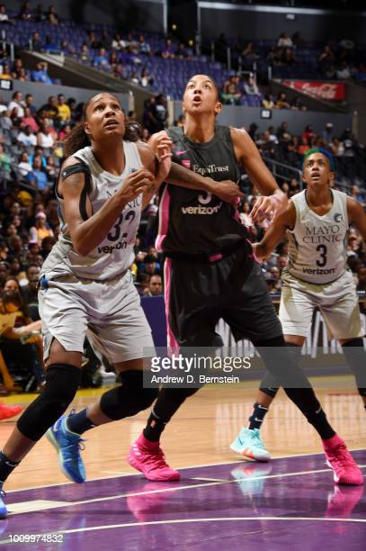 Candace Parker of the Los Angeles Sparks and Rebekkah Brunson of the Minnesota Lynx battles for position on August 2 2018 at STAPLES Center in Los...