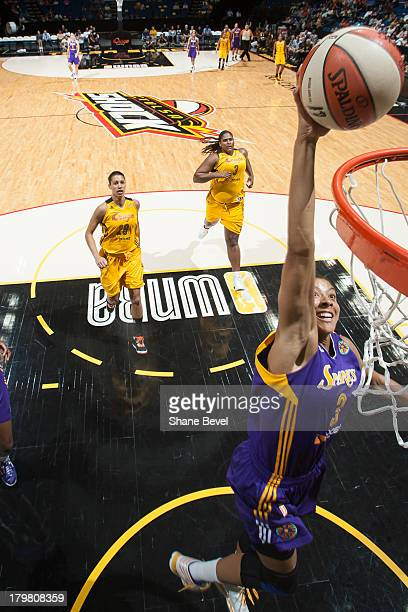 Candace Parker of the Los Angeles Sparks attempts a dunk on a breakaway against the Tulsa Shock during the WNBA game on September 6 2013 at the BOK...