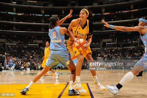 Candace Parker of the Los Angeles Sparks battles for the ball against Iziane Castro Marques of the Atlanta Dream on September 11 2008 at Staples...
