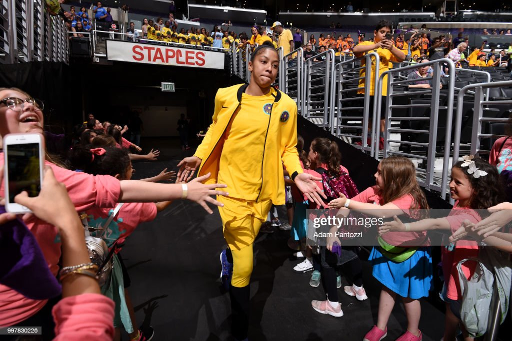 Candace Parker #3 of the Los Angeles Sparks before the game against the Dallas Wings on July 12, 2018 at STAPLES Center in Los Angeles, California.