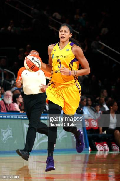 Candace Parker of the Los Angeles Sparks brings the ball up court during the game against the New York Liberty during a WNBA game at Madison Square...