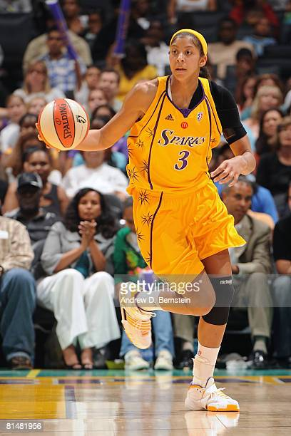 Candace Parker of the Los Angeles Sparks brings the ball up the court during the game against the Phoenix Mercury on June 6 2008 at Staples Center in...