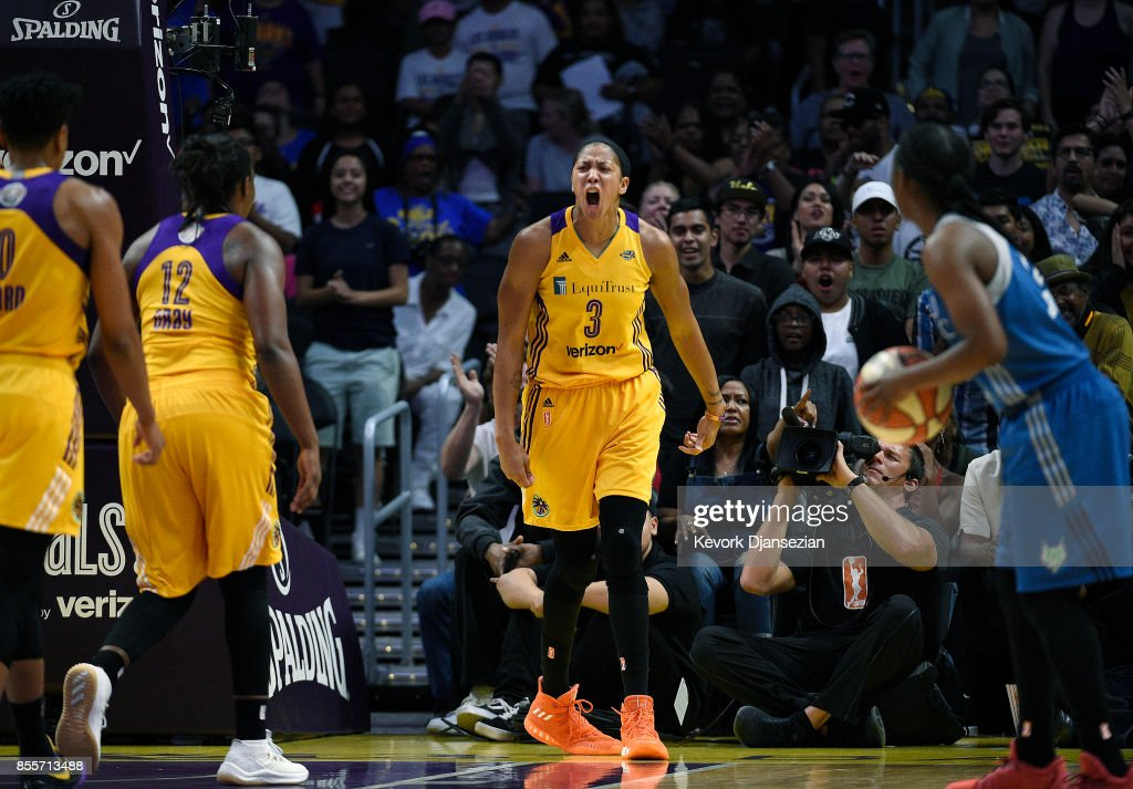 Candace Parker #3 of the Los Angeles Sparks celebrates after blocking a shot against Maya Moore #23 of the Minnesota Lynx during the first half of Game Three of WNBA Finals at Staples Center September 29, 2017, in Los Angeles, California.
