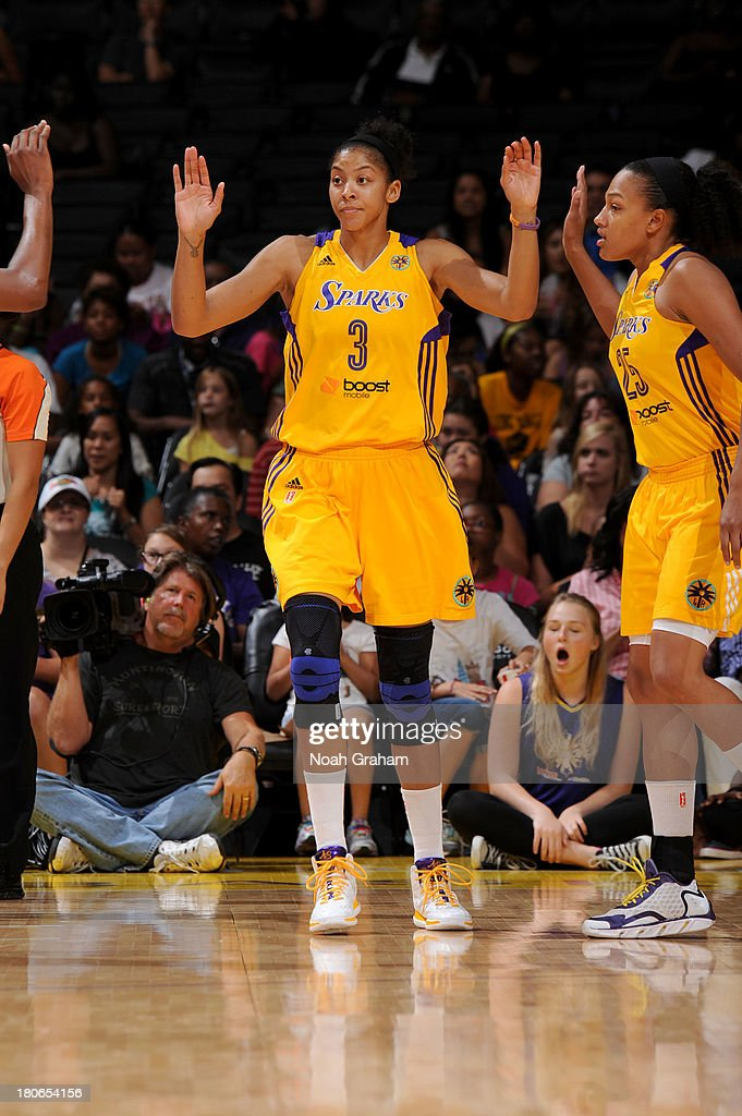Candace Parker #3 of the Los Angeles Sparks celebrates against the Phoenix Mercury at Staples Center on September 15, 2013 in Los Angeles, California.