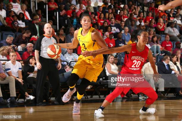 Candace Parker of the Los Angeles Sparks drives against Washington Mystics in Round Two of the 2018 WNBA Playoffs on August 23 2018 at George...