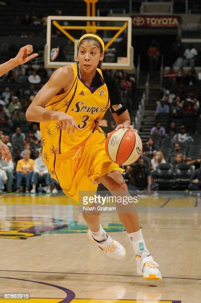 Candace Parker of the Los Angeles Sparks drives the ball to the basket during the WNBA game against the Atlanta Dream on September 11, 2008 at...