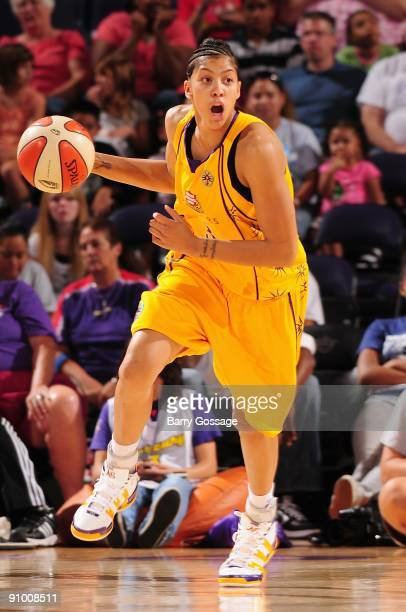 Candace Parker of the Los Angeles Sparks drives the ball upcourt against the Phoenix Mercury during the WNBA game on September 13 2009 at US Airways...