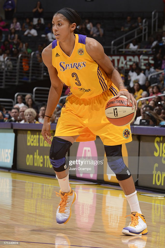 Candace Parker #3 of the Los Angeles Sparks drives to the basket against the Washington Mystics at Staples Center on June 23, 2013 in Los Angeles, California.