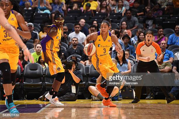 Candace Parker of the Los Angeles Sparks drives to the basket against the Dallas Wings during game on June 28 2016 at STAPLES Center in Los Angeles...