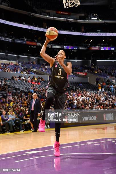 Candace Parker of the Los Angeles Sparks goes to the basket against the Minnesota Lynx on August 2 2018 at STAPLES Center in Los Angeles California...