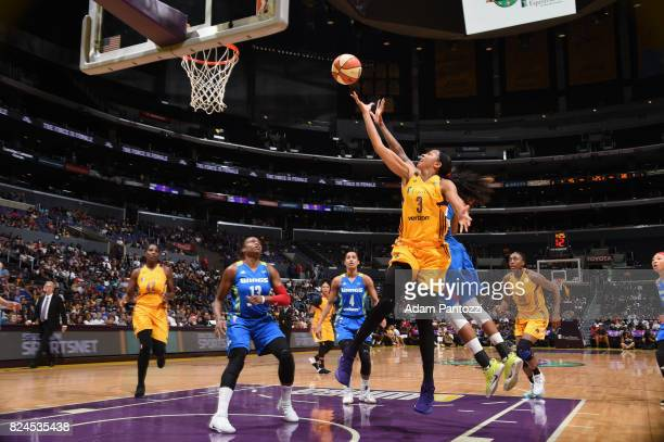 Candace Parker of the Los Angeles Sparks goes to the basket against the Dallas Wings on July 30 2017 at STAPLES Center in Los Angeles California NOTE...