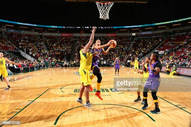 Candace Parker of the Los Angeles Sparks goes to the basket against the Seattle Storm on June 28 2018 at Key Arena in Seattle Washington NOTE TO USER...