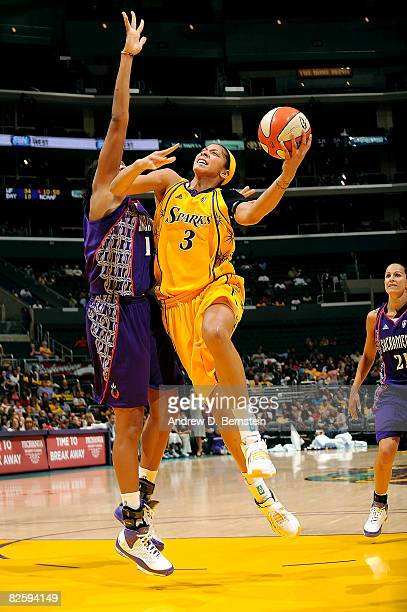 Candace Parker of the Los Angeles Sparks goes up for a layup during the game against the Sacramento Monarchs on August 28 2008 at Staples Center in...