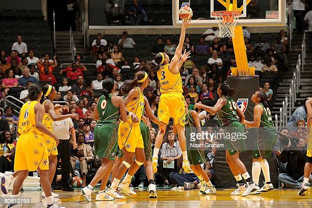 Candace Parker of the Los Angeles Sparks goes up for a shot against the Seattle Storm on September 14 2008 at Staples Center in Los Angeles...
