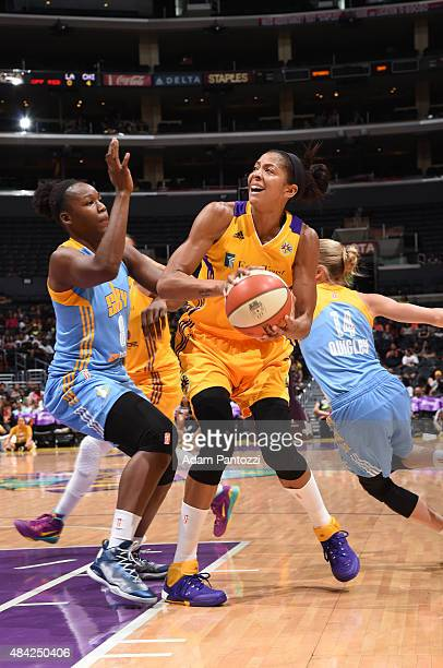 Candace Parker of the Los Angeles Sparks handles the ball against Clarissa Dos Santos of the Chicago Sky on August 16 2015 at Staples Center in Los...