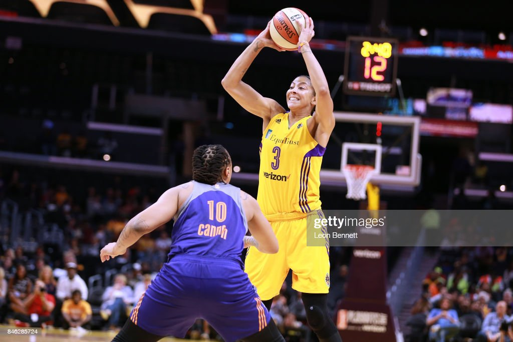Candace Parker #3 of the Los Angeles Sparks handles the ball against Emma Cannon #10 of the Phoenix Mercury during a WNBA Playoff Game at Staples Center on September 12, 2017 in Los Angeles, California.
