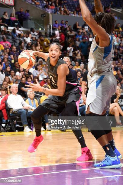 Candace Parker of the Los Angeles Sparks handles the ball against the Minnesota Lynx on August 2 2018 at STAPLES Center in Los Angeles California...
