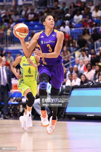 Candace Parker of the Los Angeles Sparks handles the ball against the Dallas Wings at College Park Center on June 9 2017 in Arlington Texas NOTE TO...