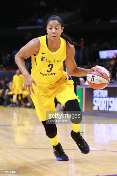 Candace Parker of the Los Angeles Sparks handles the ball against the Atlanta Dream during a WNBA basketball game at Staples Center on June 12 2018...