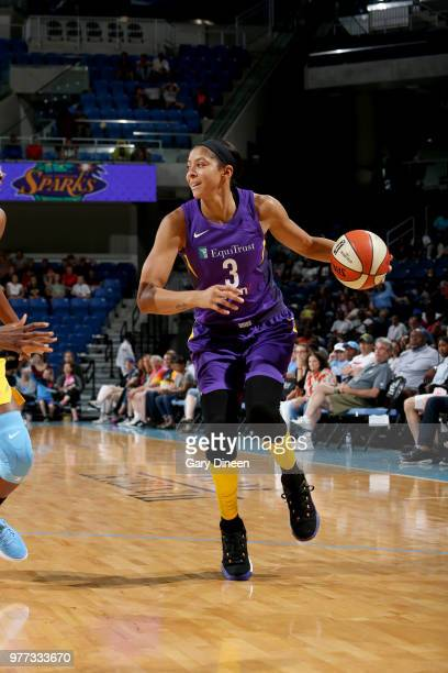 Candace Parker of the Los Angeles Sparks handles the ball against the Chicago Sky on June 17 2018 at the Allstate Arena in Rosemont Illinois NOTE TO...