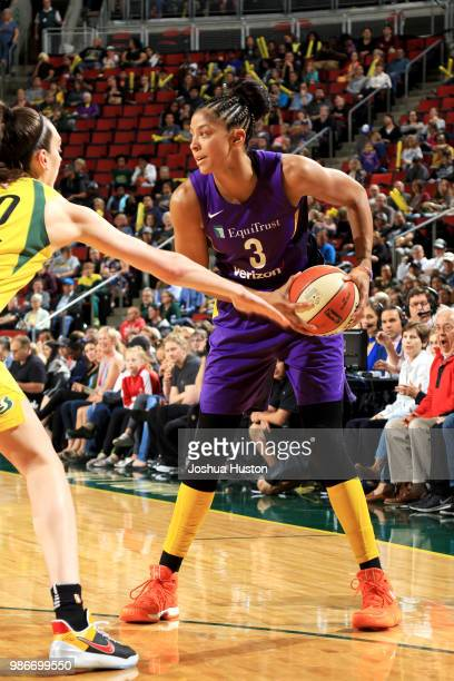 Candace Parker of the Los Angeles Sparks handles the ball against the Seattle Storm on June 28 2018 at Key Arena in Seattle Washington NOTE TO USER...