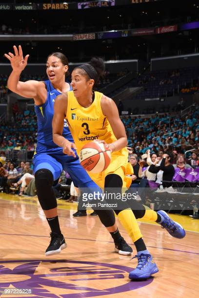 Candace Parker of the Los Angeles Sparks handles the ball against the Dallas Wings on July 12 2018 at STAPLES Center in Los Angeles California NOTE...