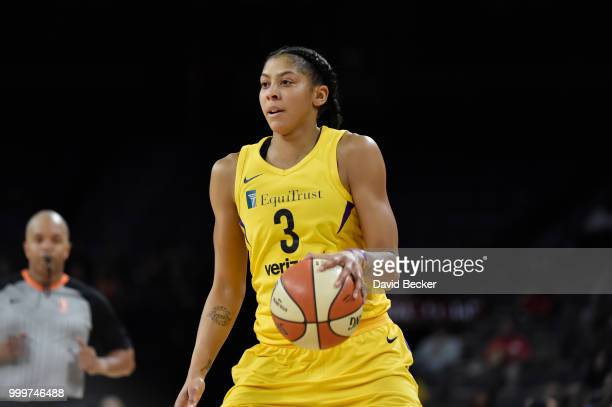 Candace Parker of the Los Angeles Sparks handles the ball against the Las Vegas Aces on July 15 2018 at the Mandalay Bay Events Center in Las Vegas...